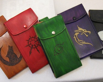 Customized Art Inscribed Leather Phone Belt Holsters