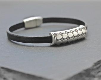 Skinny Leather Bracelet , Silver Bracelet , Layer Leather Bangle , Mens Leather Bracelet , Men's Jewelry , Gift For Men , Jewelry Under 50