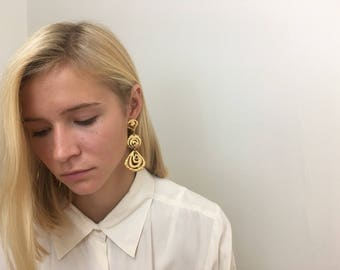 Extra Large Drop Earrings | Statement Piece | Gold | Minimalist | 80s