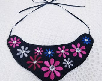 Embroidered Necklace, Bib Necklace, Floral Embroidered Necklace, Felt and Ribbon Necklace, Felt Multi color Necklace,