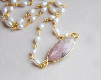 Rhodonite Choker, Pink Choker, Pearl Choker, Pink Stone Choker, Stone Choker, Short Necklace, Marquise Choker, Natural Stone,millennial pink