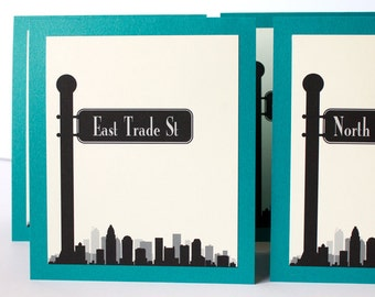 Charlotte Table Number Skyline Street Sign Travel Wedding Your City Globe Trotter Custom Tented Reception Sign