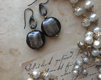 Silver and black earrings Dangle Earrings  Round Glass Earrings Fused Glass Jewelry Silver Shimmer Earrings
