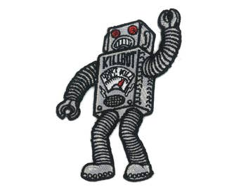 Robot Monster Iron On Patch SciFi Robby the Forbidden Planet tin toy B9 Lost in Space R2D2 C3PO Punk Retro Rocker Tattoo Art Rob Zombie Camp