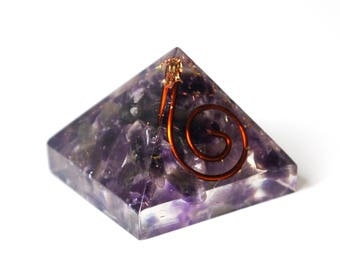 Natural Amethyst Crystal Orgone Pyramid