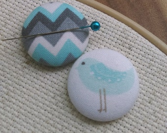 Needle Minder, Bird, Chevron  2 Piece Reversible Scout and Remy, For Cross Stitch, Sewing, Embroidery