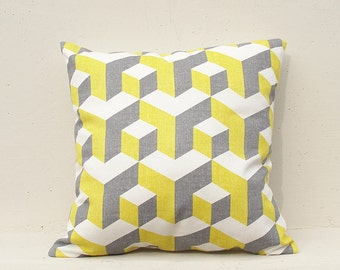 Yellow and Gray Cushion Cover, Geometric Pillow Case, Decorative Pillow Case ,Geometric 10
