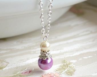 Lavender necklace Lavender bridesmaid jewelry Light purple Wedding jewelry with rhinestones Lavender Bridesmaid gift Light Purple jewelry
