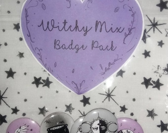 Witchy Mix Button Badges Pack of 5 , Witch, Witch Craft, Magick, Cat Skull