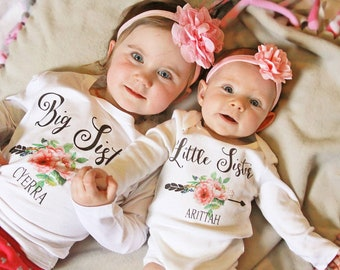 Big Sister Little Sister Outfit, Big Sister Shirt, Little Sister Shirt, Personalized Set, Custom Outfit, Newborn Gift, Photo Prop