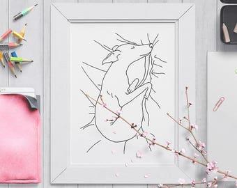 Sleeping Greyhound - A4 Art Print - Iggy Dog - Iggy Drawing - Dog Line Drawing - Greyhound Illustration - Cute Dog Sleeping Drawing