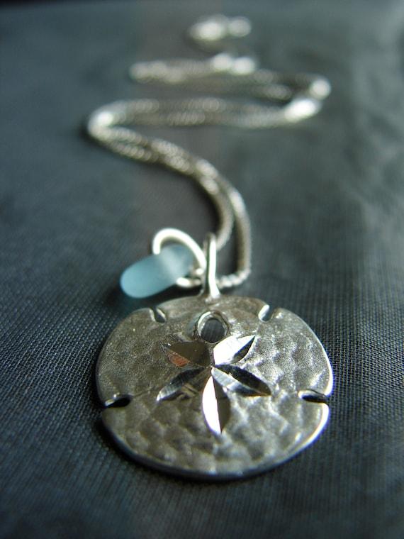 Little Sand Dollar sea glass necklace in aqua