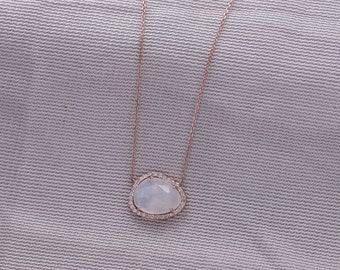 Diamond Moonstone Necklace, Chain Necklace, 14k Solid Gold Gemstone Necklace, Rainbow Moonstone and Natural Diamond Halo Pendant