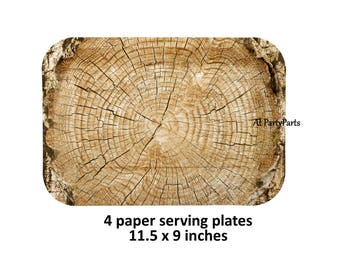 large woodland plates, tree rings, rustic serving platters, disposable tableware, lumberjack baby shower, camping, outdoors, Cut Timber