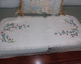 Two vintage hand embroidered scarves trimmed in crocheted lace.