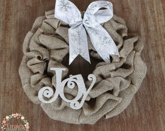 Mini Christmas Burlap Wreath, Mini Holiday Wreath, Holiday Gift, Christmas Gift, Burlap Wreath, Silver and White