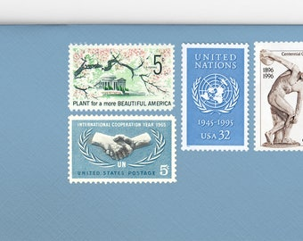Posts (5) 2 oz wedding invitations - Dusty blue Italian garden unused vintage postage stamp sets (2 ounce 71 cent rate)