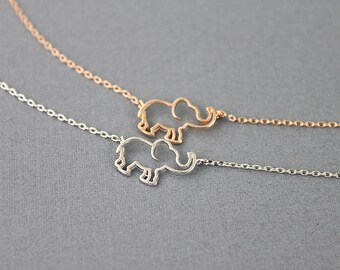 Tiny Open Elephant Pendant Necklace Bridesmaid Gift Dainty and Delicate Necklace Birthday Gift