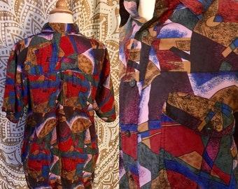 VTG 80s Abstract SILK Colorful Button Boyfriend Oversized Grunge Shirt Top M/L