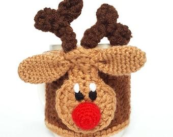 MUG COSY Reindeer Cosy, Crochet Reindeer Cosy, Coffee Cup Cosy, Mug Hug, Mug Warmer Reindeer Cozy Pattern