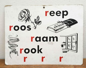 Read School plate ' R ' vintage with illustrations ' bar, rose, window, smoke, red '