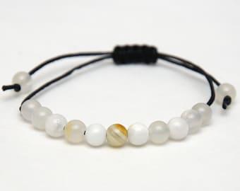 Onyx bracelet black wax cord bracelet Beaded Bracelet Healing bracelet natural jewelry outdoors gift for him boyfriend gift girlfriend gift