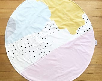 READY TO POST Round Play Mat for girls Baby tummy time mat change mat pink mustard abstract art nursery play mat roundie for girls baby gift