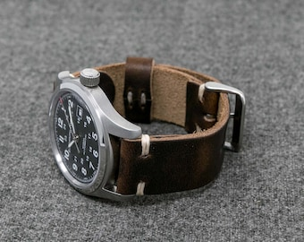 Leather Watch Strap | The Hudson Strap |  Horween Brown Nut Dublin Watch Strap- Handmade Leather Watch Band