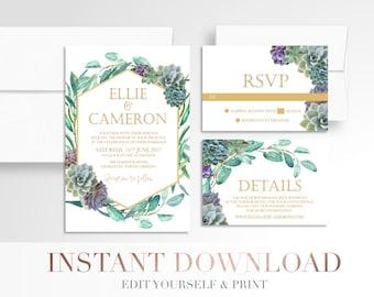 Printable Succulents Wedding Invitation // Modern Succulent // Wedding Invitation Suite // Digital // Succulent // White  // Templett