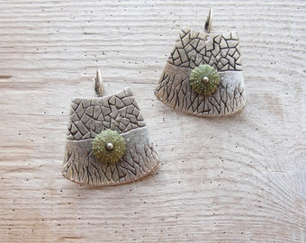 Green Sea Urchin Earrings Special Texture