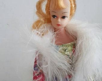 Vintage Barbie Clone Doll Feather Boa