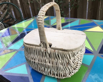 Small Painted Wicker Picnic Basket, Wooden Lid, Handle