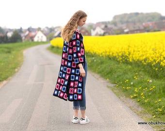 Patschwork cardigan, crochet coat, jacket, crochet coat, crochet jacket, wool, cashmere, cotton size 36-40