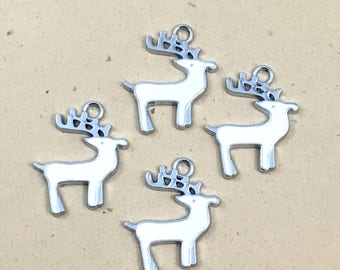 4 deer color silver and enamel charms,20mm # CH 065
