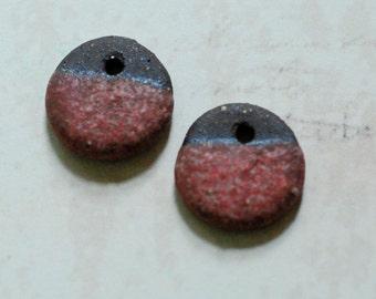 Ceramic Beads - Handmade - Small Ceramic Charm Beads - Flat Beads - Stoneware Beads - Earring Supplies - Handmade by Marsha Neal Studio