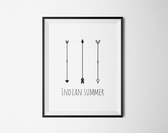 indian summer poster, arrows, digital posterm instant download