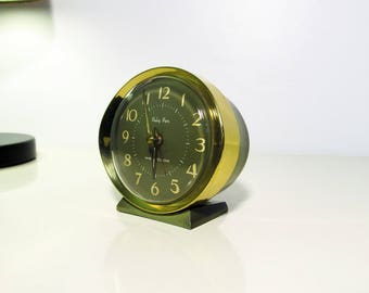 Vintage Westclox Baby Ben Alarm Clock Army Green and Gold tone trim Color Mechanical Alarm Clock Metal Clock Made in Scotland 60s