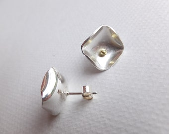 Squarish silver earrings with gold detail