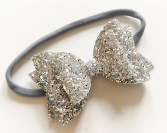 Double glitter silver bow on nylon headband - baby toddler headbands, one size headband