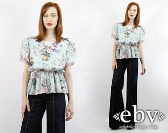 Vintage 80s Floral Peplum Blouse L XL Floral Blouse Floral Shirt Puff Sleeve Top Blue Blouse Peplum Top Summer Blouse
