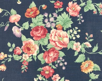 Pink/Peach Flowers on Navy - POLISHED Cotton Fabric: POLY/COTTON blend   [[by the half yard]]