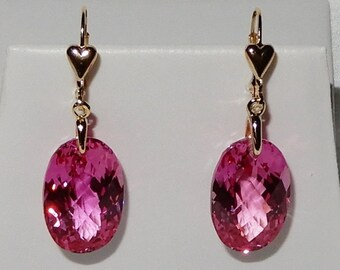 Natural 47cts Oval CKB Pink Topaz gemstones, 14kt yellow gold Heart Leverback Earrings