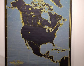 Vintage Pull Down Chalkboard Map Royal Series North America