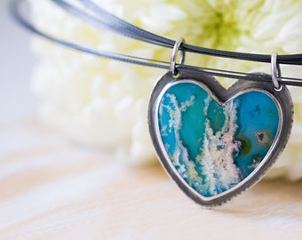 Turquoise Necklace, Regency Rose Plume Agate Necklace, Heart Necklace, Statement Necklace, Love Necklace - Forests of the Heart