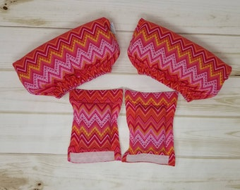 Crutch Underarm and Hand grip Covers - Pink and Orange Chevron