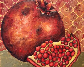 Pomegranate - Encaustic Painting with Geniune Gold Leaf
