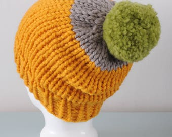 Yellow Super Chunky Beanie Hat - Grey Knitted Merino Wool Green Pom Pom Hat Unisex Accessory Gift for Him or Her by Emma Dickie Design