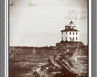 Lighthouse from Mentor Headlands near Cleveland in  Sepia