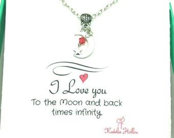 Mond-Geschenk-Karte-Halskette, Liebe Halskette, Freundschaft Geschenk, Geschenk Kette, Geschenk-Karte-Schmuck, Geschenk für Sie