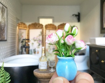 Miniature pink roses in blue vase - Dollhouse - Diorama - 1:12 scale